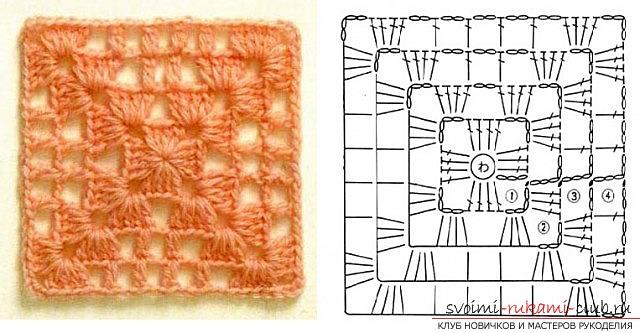 Вязания крючком квадрата: простые схемы и инструкция. Фото №7
