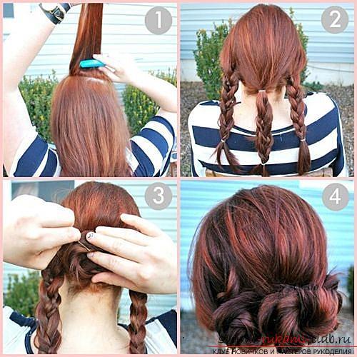 Причёска на средние волосы своими руками пошаговое фото