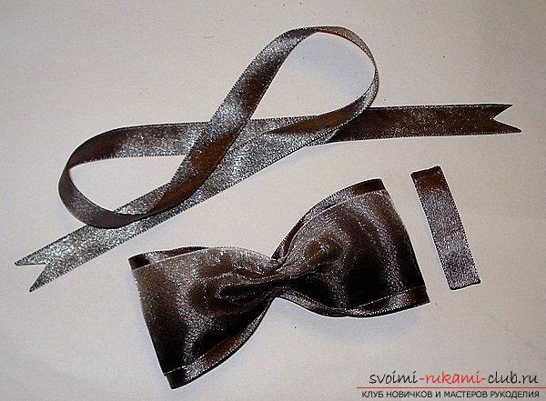 Как сделать галстуки-жабо и галстук-бабочку в технике канзаши, подробные мастер классы с пошаговыми фото и описанием процесса.. Фото №40