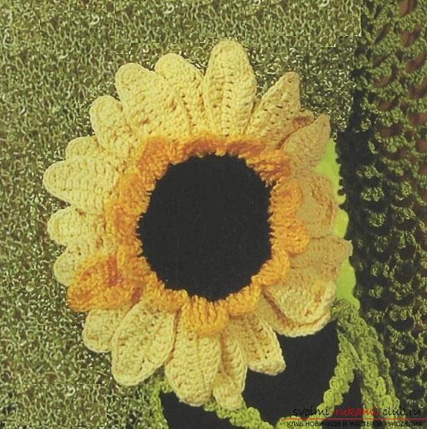 Бесплатные схемы и описание вязания крючком цветка подсолнечника, фото готового изделия. Фото №1
