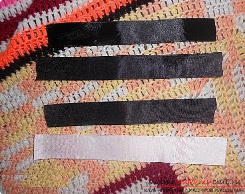 Как сделать галстуки-жабо и галстук-бабочку в технике канзаши, подробные мастер классы с пошаговыми фото и описанием процесса.. Фото №3