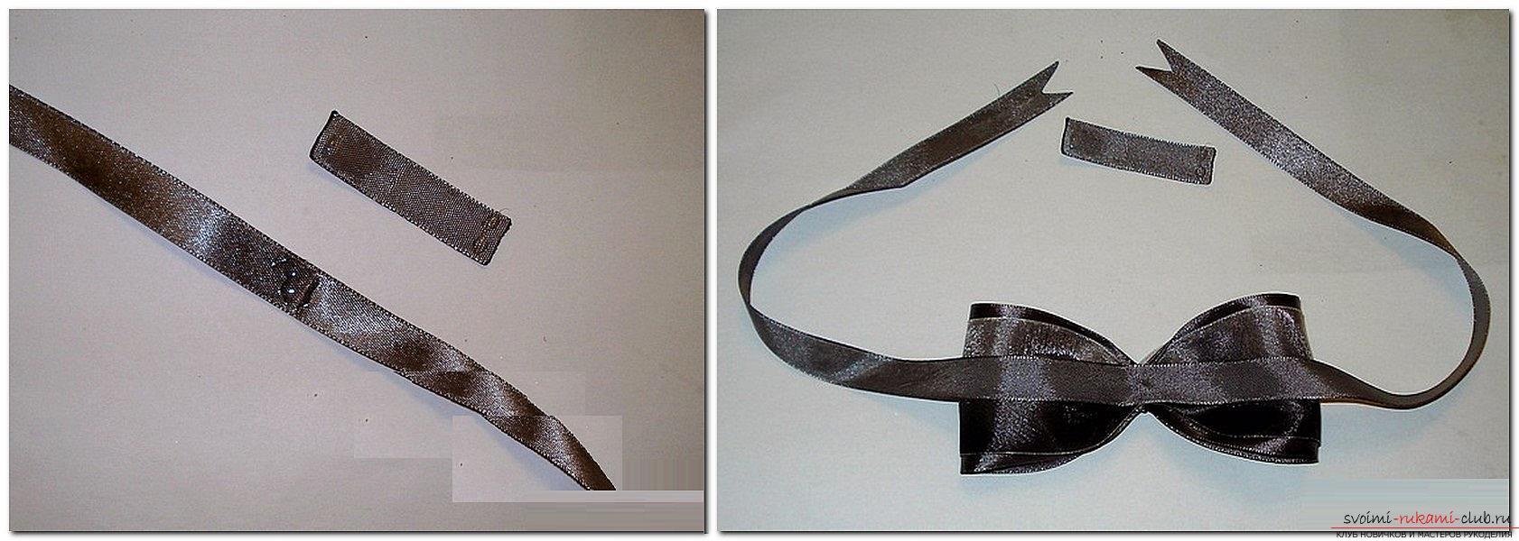 Как сделать галстуки-жабо и галстук-бабочку в технике канзаши, подробные мастер классы с пошаговыми фото и описанием процесса.. Фото №41