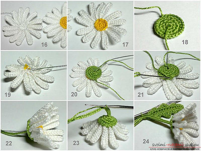Бесплатный мастер класс по вязанию цветков ромашки с описанием и пошаговыми фото.. Фото №5
