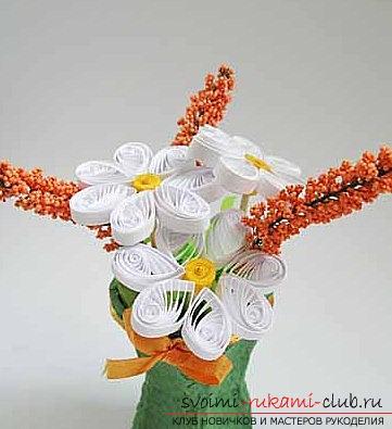 Квиллинг букета в цветочном горшке своими руками - пошаговый мастер-класс. Фото №1