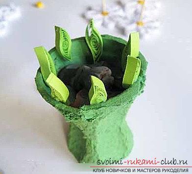 Квиллинг букета в цветочном горшке своими руками - пошаговый мастер-класс. Фото №5