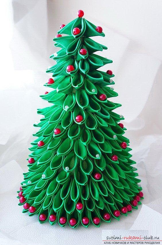 Как сделать новогодние елочки из лент - Новогодние елки своими руками фото. Новогодние елки своими