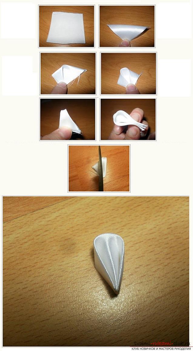 Как сделать елочку из лент в технике канзаши, мастер классы создания елочек из острых и круглых лепестком, способы создания украшений для миниатюрных елочек. Фото №11