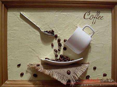 Как сделать из кофейных зерен оригинальные поделки в виде картины, панно, парящей чашки-проливашки, пошаговые фото и подробное описание работы