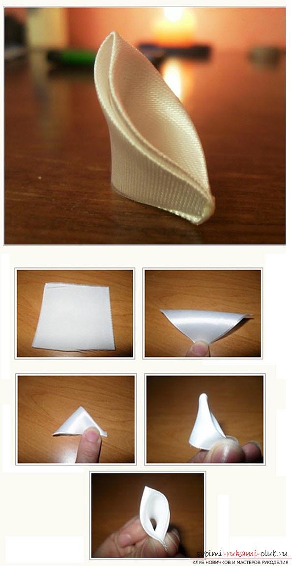 Как сделать елочку из лент в технике канзаши, мастер классы создания елочек из острых и круглых лепестком, способы создания украшений для миниатюрных елочек. Фото №3
