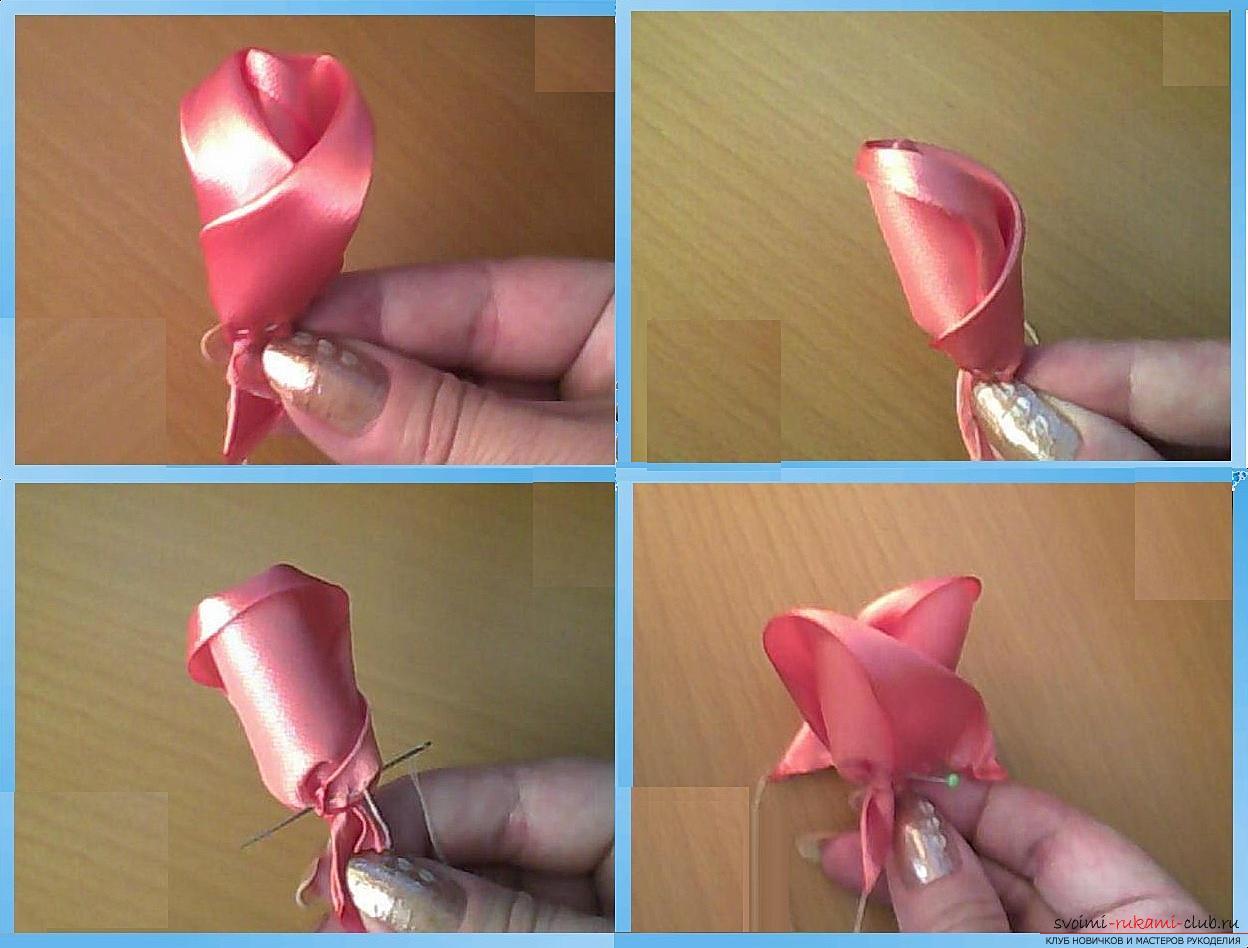 Как сделать розы из ленты своими руками, пошаговые фото и инструкция по созданию цветка, семь вариантов роз из ленты в виде бутонов и распустившихся цветов. Фото №14