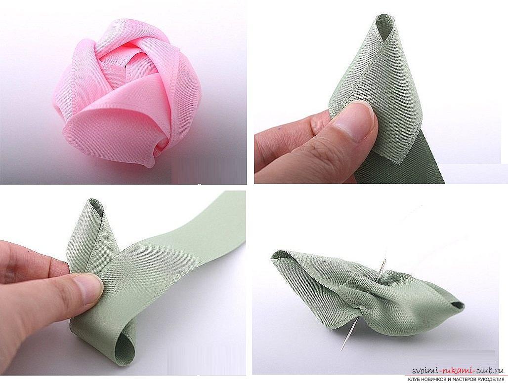 Как сделать розы из ленты своими руками, пошаговые фото и инструкция по созданию цветка, семь вариантов роз из ленты в виде бутонов и распустившихся цветов. Фото №34