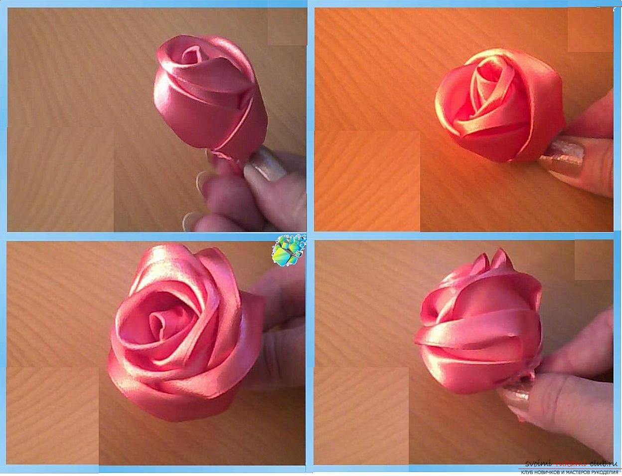 Как сделать розы из ленты своими руками, пошаговые фото и инструкция по созданию цветка, семь вариантов роз из ленты в виде бутонов и распустившихся цветов. Фото №15