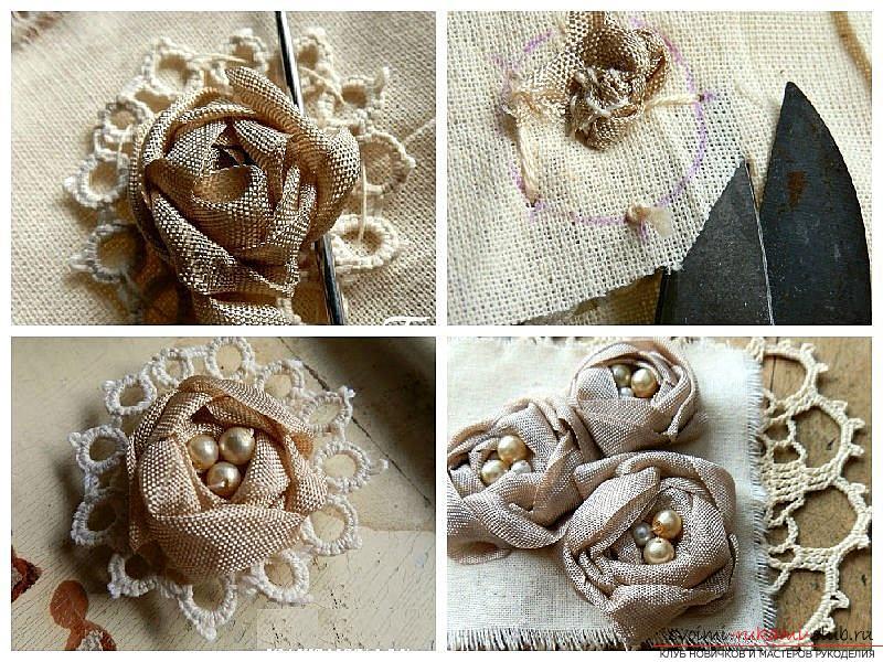 Как сделать розы из ленты своими руками, пошаговые фото и инструкция по созданию цветка, семь вариантов роз из ленты в виде бутонов и распустившихся цветов. Фото №9