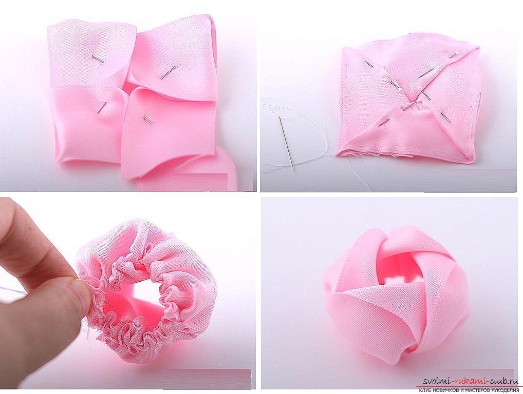 Как сделать розы из ленты своими руками, пошаговые фото и инструкция по созданию цветка, семь вариантов роз из ленты в виде бутонов и распустившихся цветов. Фото №32