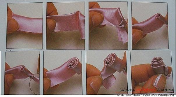 Как сделать розы из ленты своими руками, пошаговые фото и инструкция по созданию цветка, семь вариантов роз из ленты в виде бутонов и распустившихся цветов. Фото №28