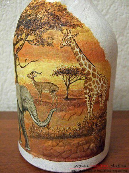 Декупаж бутылки в африканском стиле, поделки из скорлупы, как сделать мозаику из скорлупы своими руками, мозаика из яичной скорлупы на стеклянной бутылке, подробный мастер-класс по декорированию бутылки в африканском стиле.. Фото №22