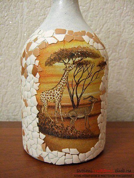 Декупаж бутылки в африканском стиле, поделки из скорлупы, как сделать мозаику из скорлупы своими руками, мозаика из яичной скорлупы на стеклянной бутылке, подробный мастер-класс по декорированию бутылки в африканском стиле.. Фото №24