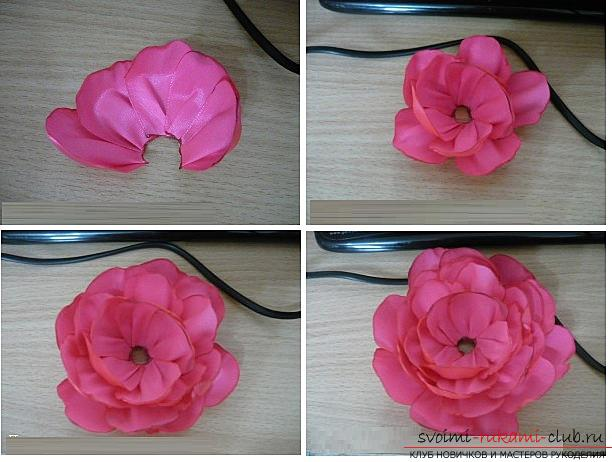 Как сделать розы из ленты своими руками, пошаговые фото и инструкция по созданию цветка, семь вариантов роз из ленты в виде бутонов и распустившихся цветов. Фото №37