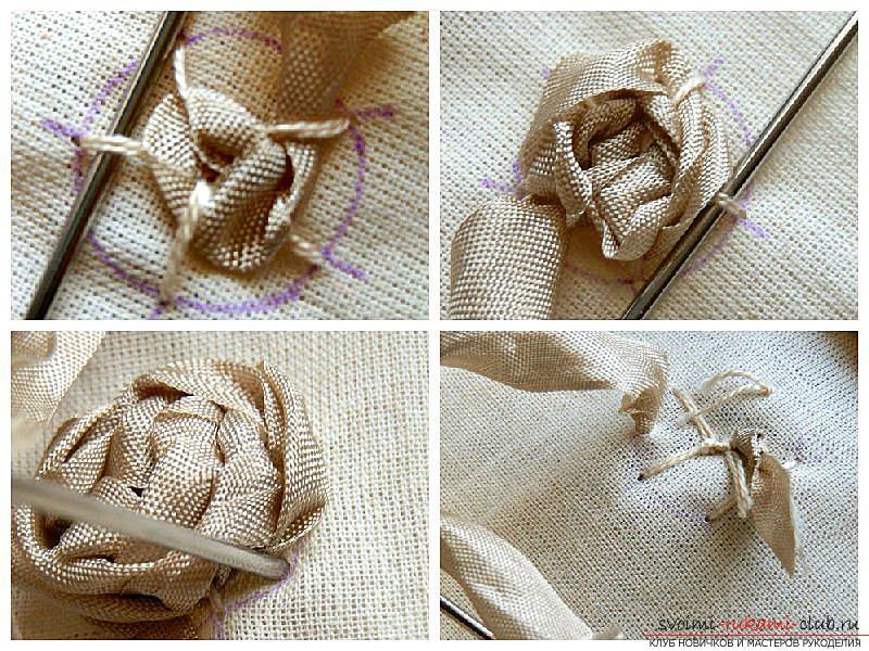 Как сделать розы из ленты своими руками, пошаговые фото и инструкция по созданию цветка, семь вариантов роз из ленты в виде бутонов и распустившихся цветов. Фото №6