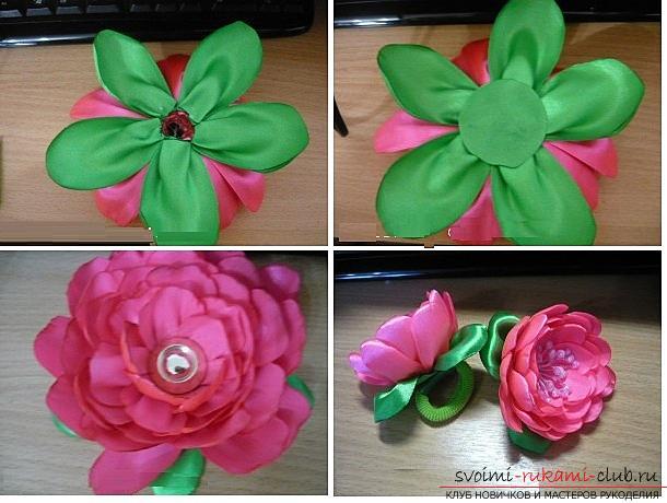 Как сделать розы из ленты своими руками, пошаговые фото и инструкция по созданию цветка, семь вариантов роз из ленты в виде бутонов и распустившихся цветов. Фото №38