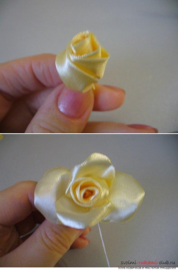 Как сделать розы из ленты своими руками, пошаговые фото и инструкция по созданию цветка, семь вариантов роз из ленты в виде бутонов и распустившихся цветов. Фото №29