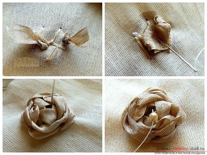 Как сделать розы из ленты своими руками, пошаговые фото и инструкция по созданию цветка, семь вариантов роз из ленты в виде бутонов и распустившихся цветов. Фото №7