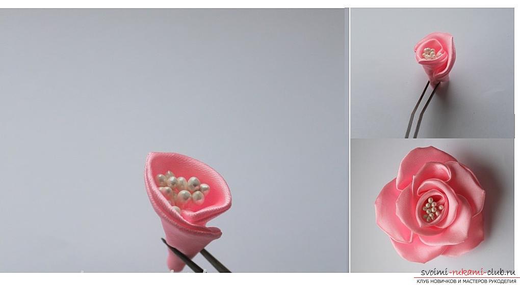 Как сделать розы из ленты своими руками, пошаговые фото и инструкция по созданию цветка, семь вариантов роз из ленты в виде бутонов и распустившихся цветов. Фото №19