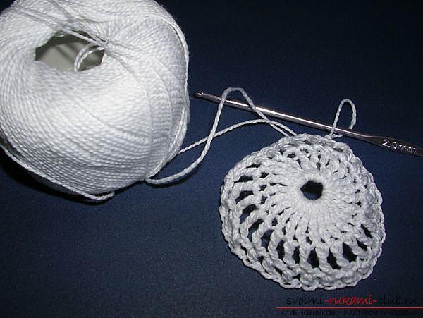 Как связать крючком новогодний шар, пошаговые фото создания елочного шара из ниток со схемами вязания. Фото №5
