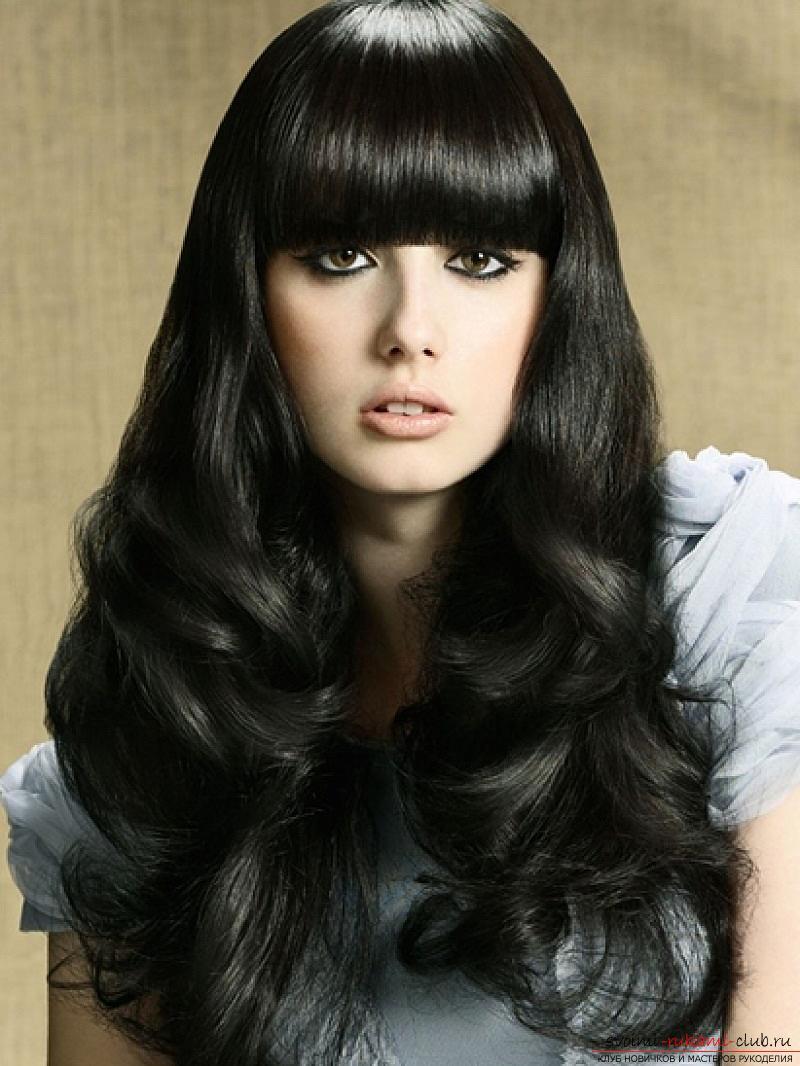 Объемная укладка волос с челкой