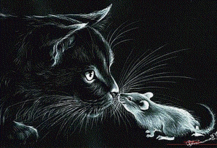 Вышивка котов на черной канве 66
