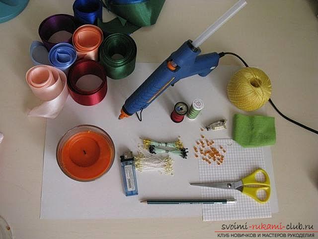 Подробный мастер-класс по созданию объёмного цветка канзаши. Фото №23
