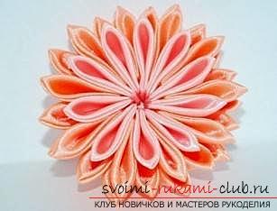 Подробный мастер-класс по созданию объёмного цветка канзаши. Фото №1