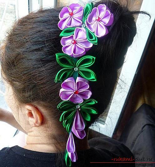 Яркие цветы канзаши из лент, созданные своими руками. Фото №1