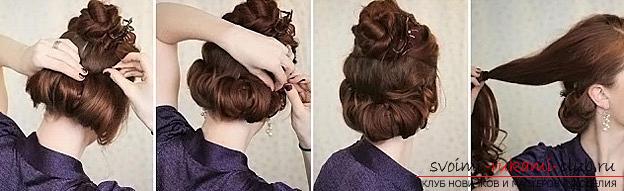 """Советы по созданию вечерней прически на средние волосы, двойной пучок-валик """"Гибсон"""" своими руками.. Фото №3"""