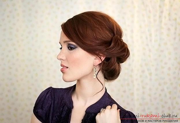 """Советы по созданию вечерней прически на средние волосы, двойной пучок-валик """"Гибсон"""" своими руками.. Фото №1"""