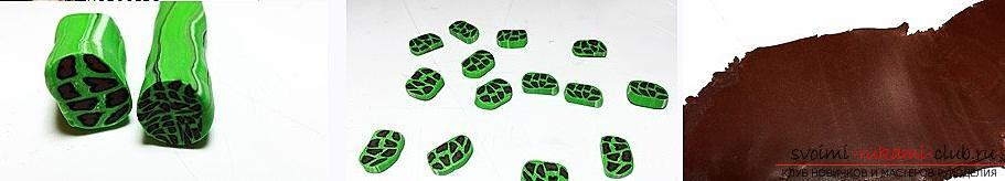 Как сделать из полимерной глины колье в этно стиле с ярким и оригинальным леопардовым принтом в зеленых оттенках