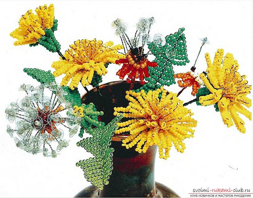 Как сплести из бисера бутоны, цветки и листья одуванчика, схемы и фото изделий. Фото №1