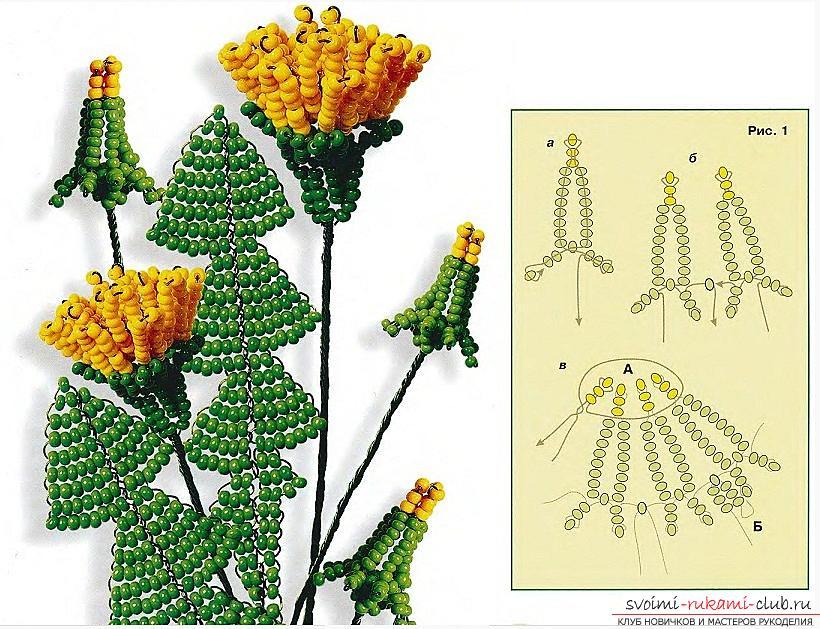 Как сплести из бисера бутоны, цветки и листья одуванчика, схемы и фото изделий. Фото №2