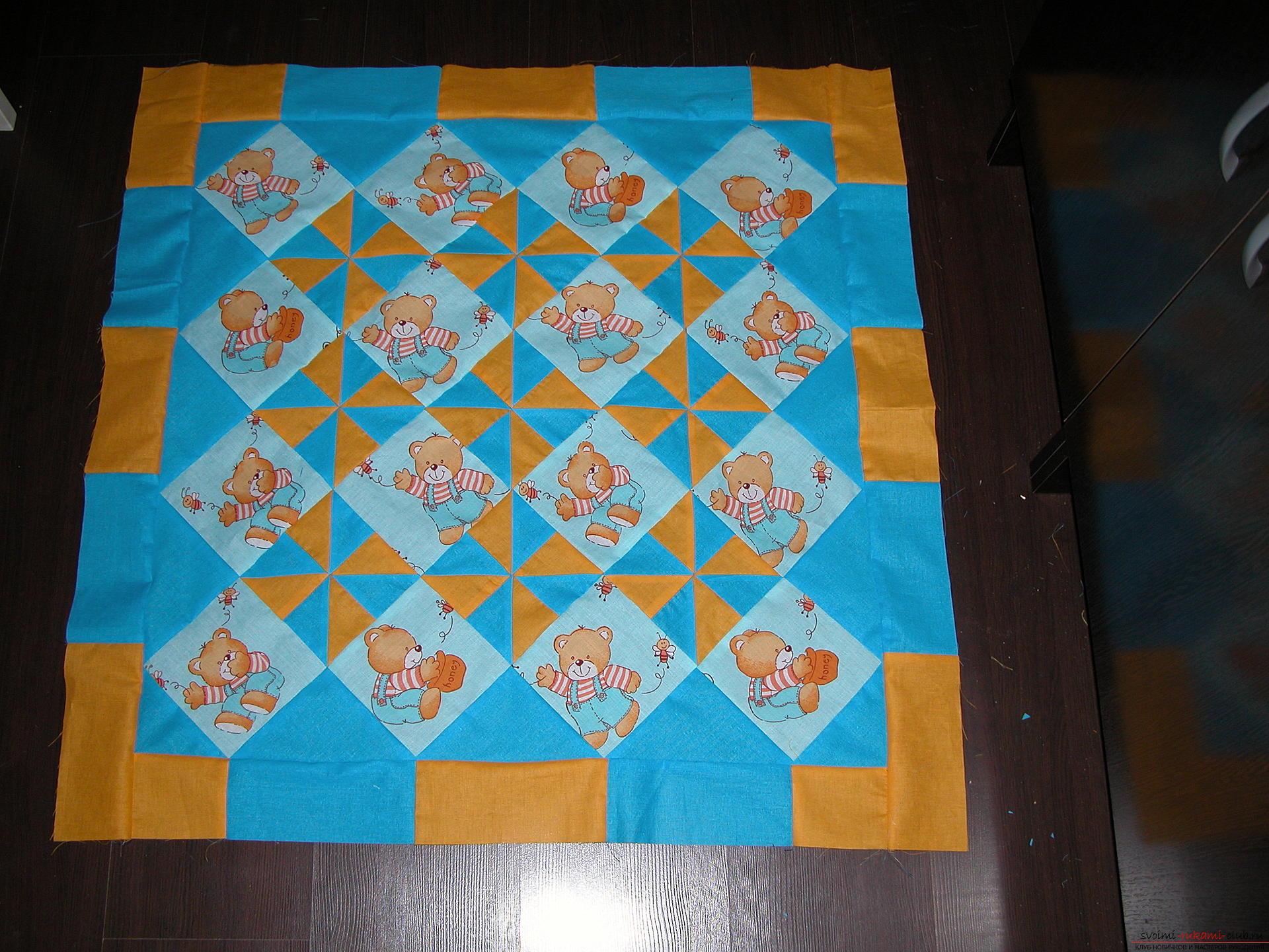 Подробный мастер класс по шитью детского лоскутного одеяла. Фото №14