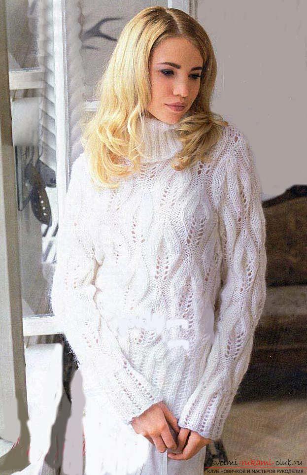 Связать красивый пуловер узором листочки. Фото №1
