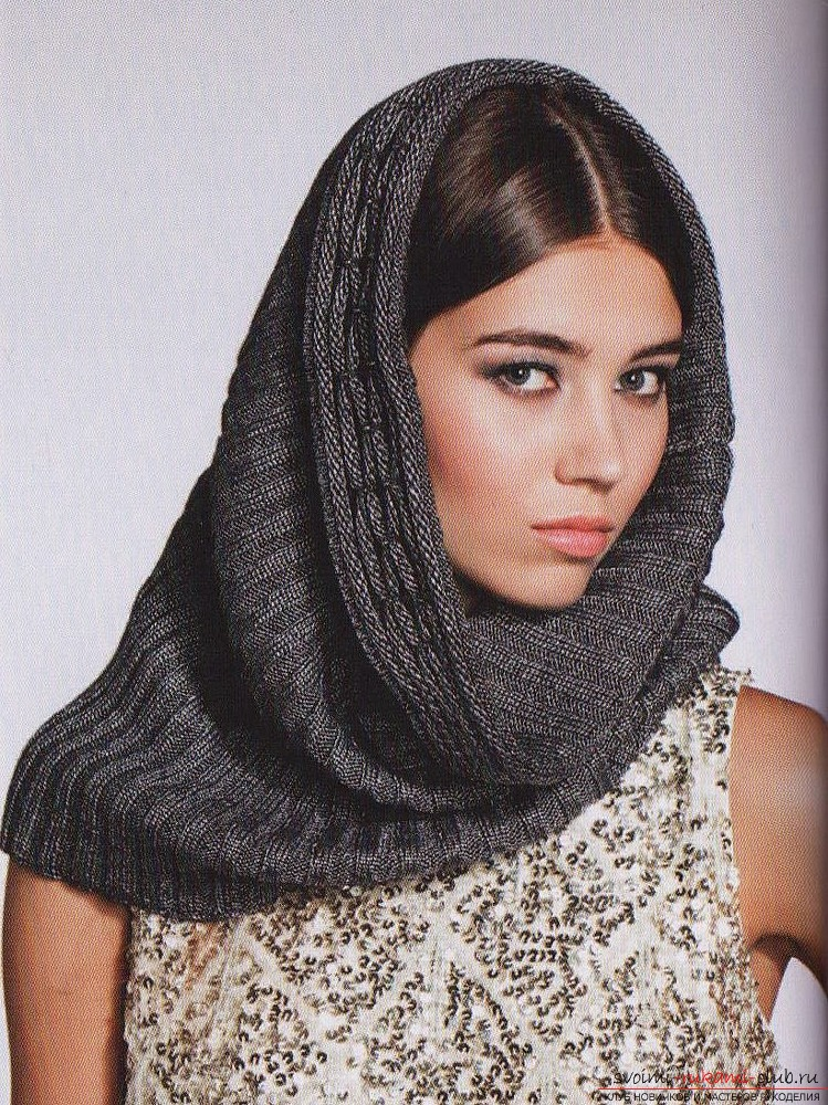 уроки как связать шарф снуд