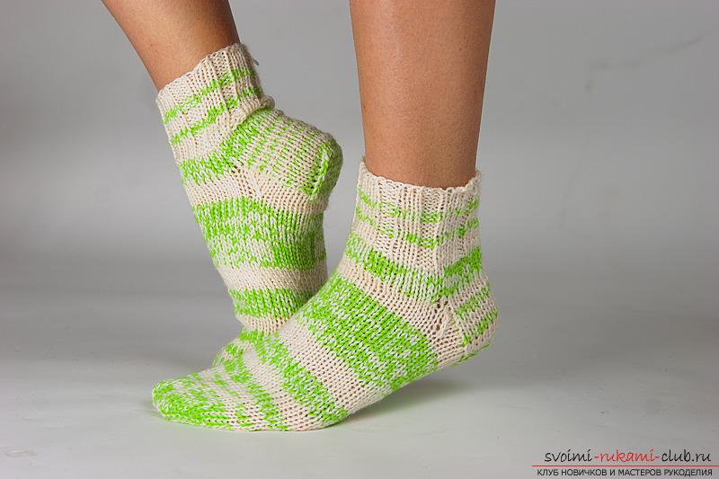 схема вязания теплых носков на