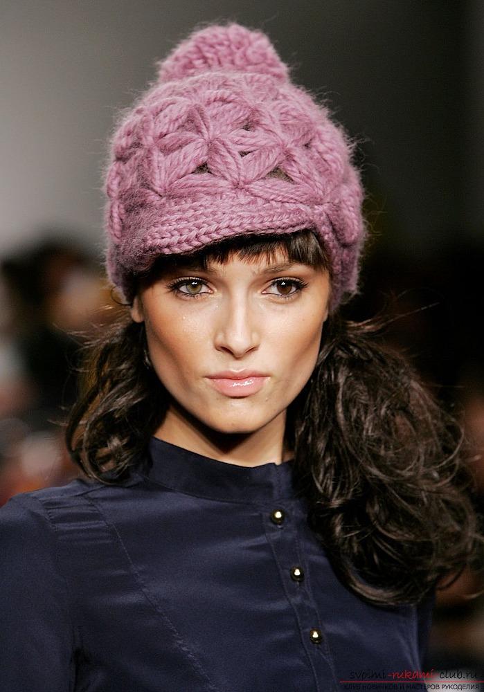 Вязание спицами зимнюю шапку для девочки