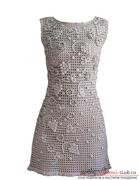вязание ажурного платье для женщины