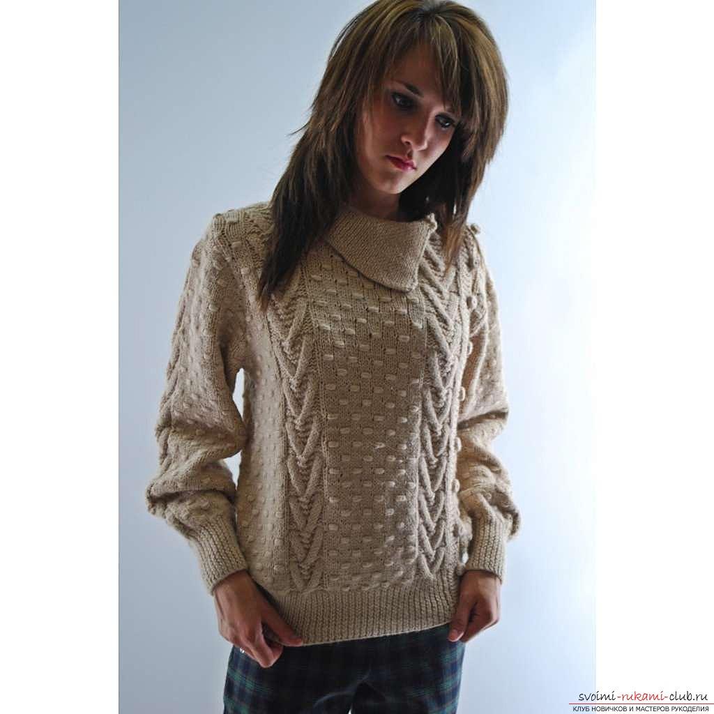вязание спицами женская кофточка с баской