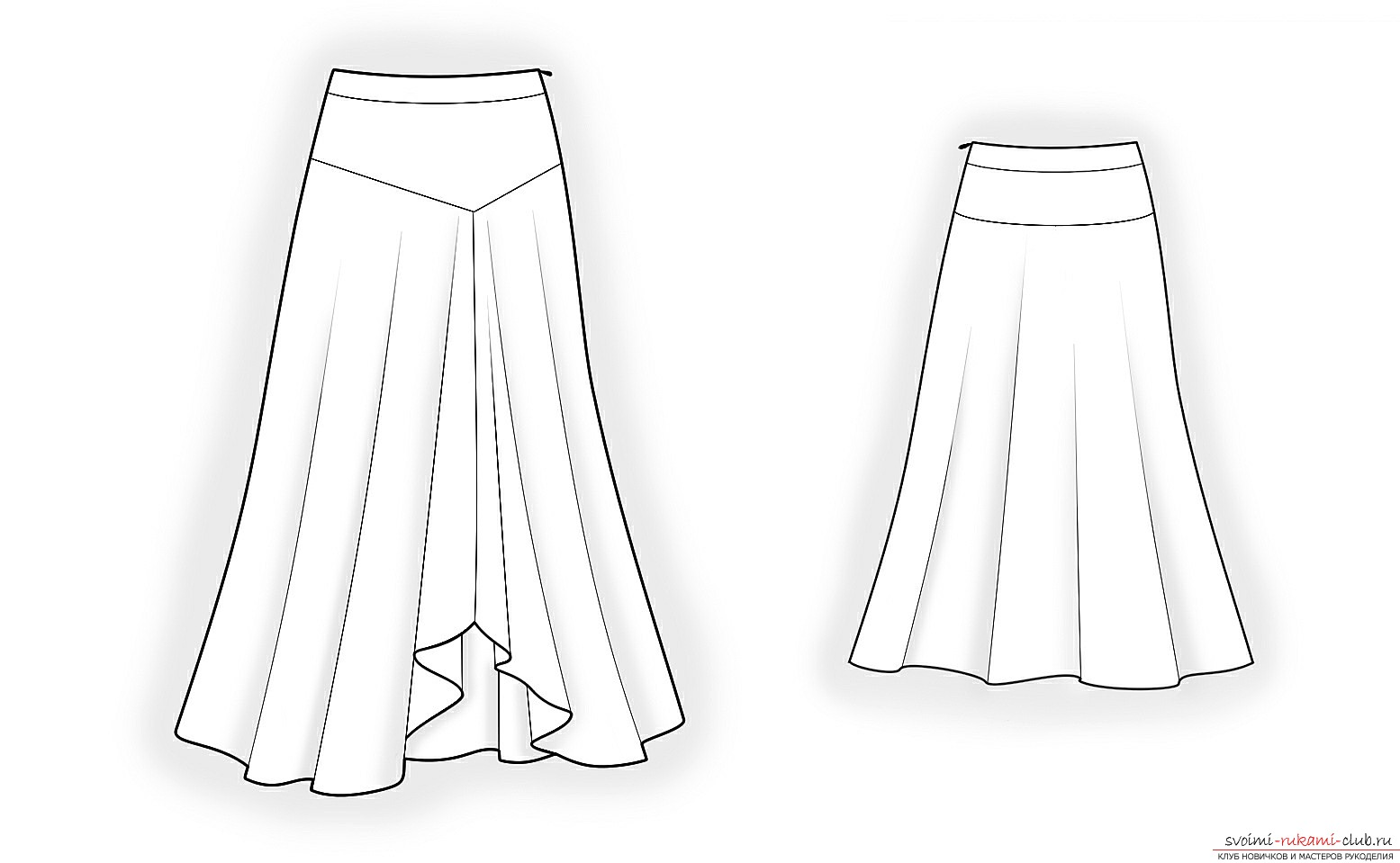 Как сшить длинную юбку в пол на резинке 52