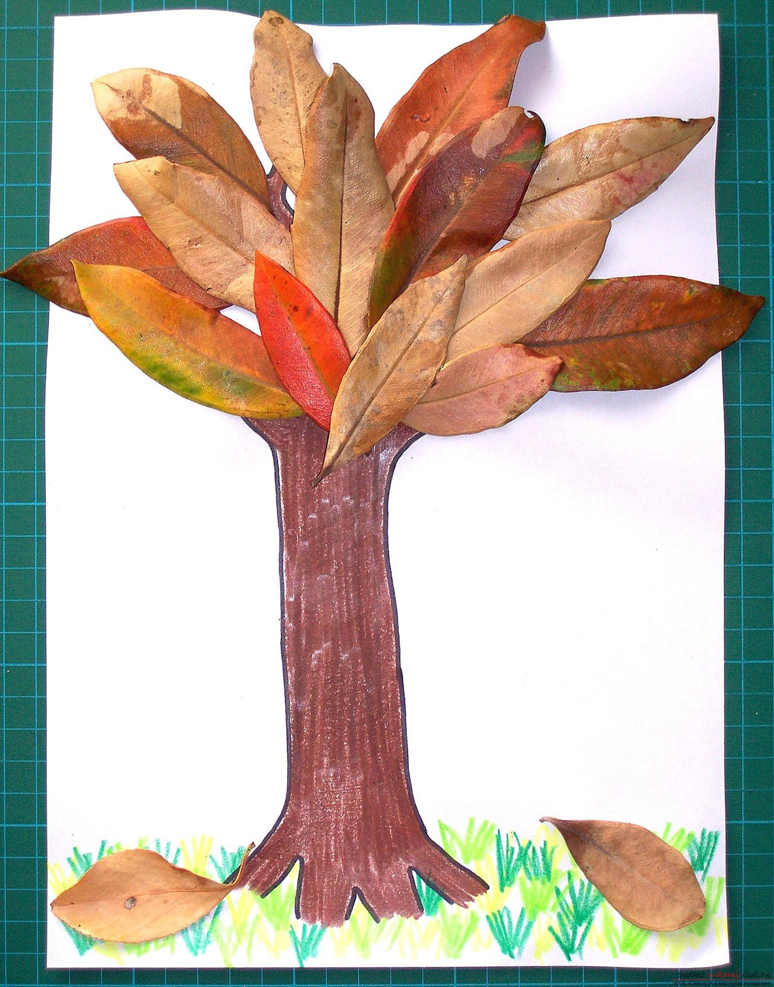 Поделка дерево из листьев своими руками