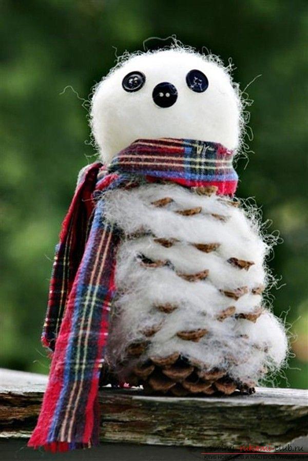 Поделки снеговика из шишек