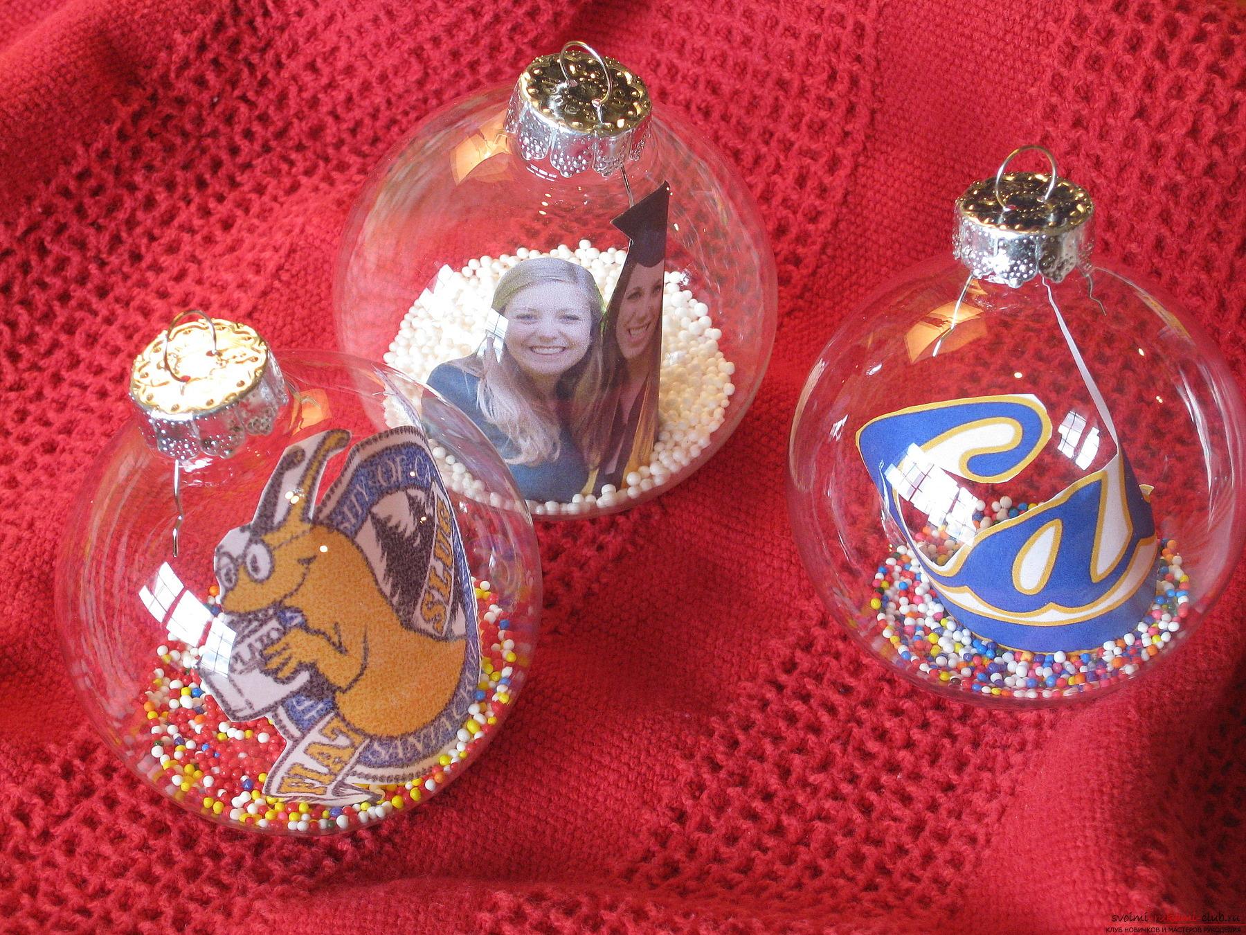 Новогодний шар своими руками с фото внутри