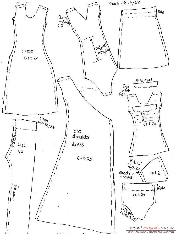 Выкройки платья кукле тильда